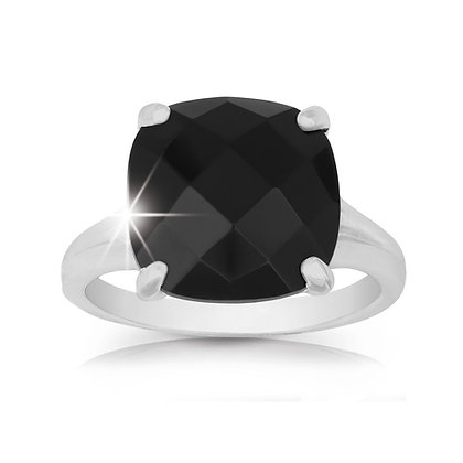 Cushion Cut Onyx Ring