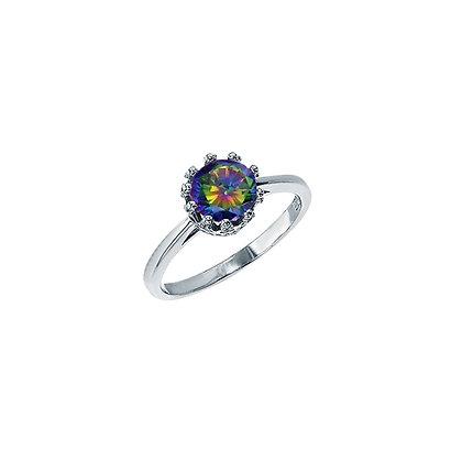 Mystic Topaz, Crown Cut Ring