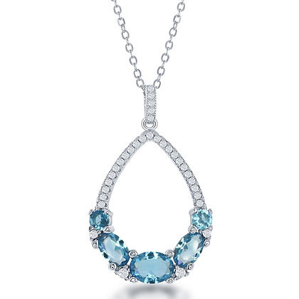 Blue Topaz  Oval Cut Deluxe Necklace