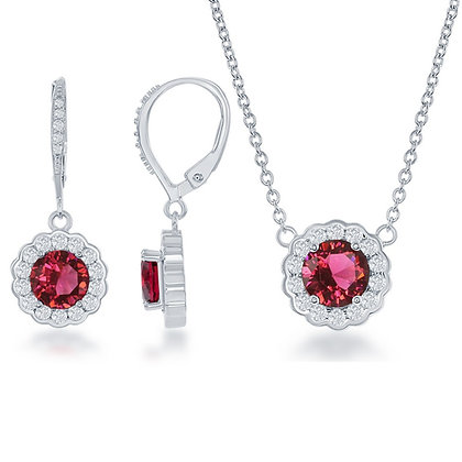 Ruby Set with Lever Back Earrings