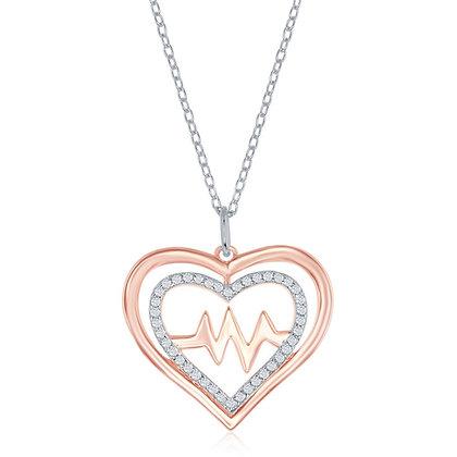 2-Tone Rose Heart Beat Rhythm Necklace