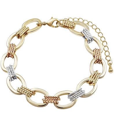 Tri-Color Oval Bracelet with Braid