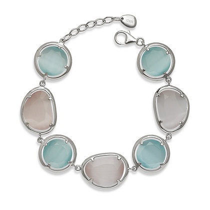 Aqua and Slate Cats Eye Bracelet