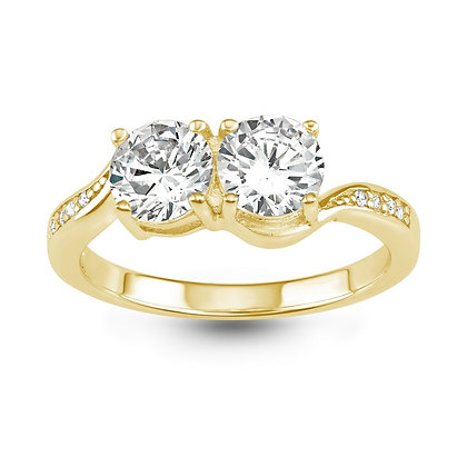2 stone channel Ring, Yellow