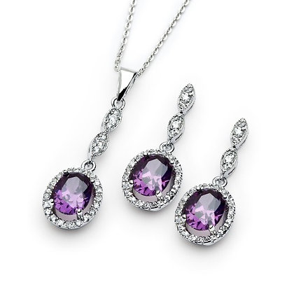 Amethyst Oval Set, 10ctw