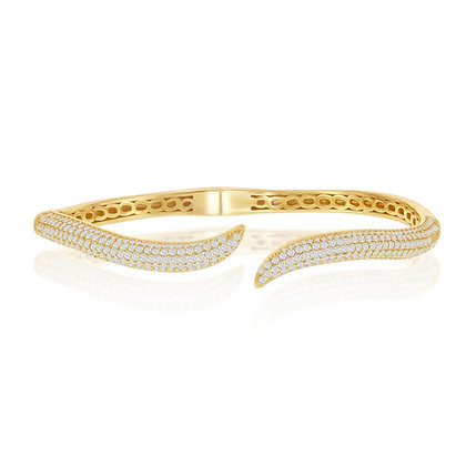 Pave Kissing Bangle Yellow or White Gold