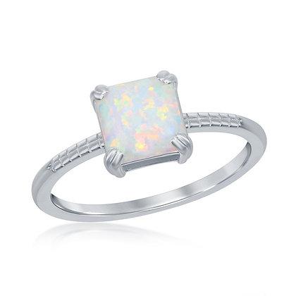 White Opal Princess Cut Ring