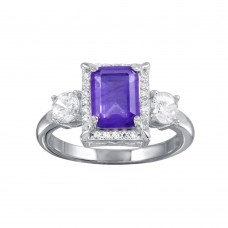 Amethyst Ring, Emerald Cut