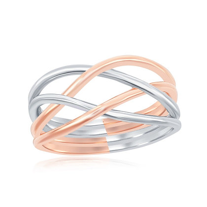 Two Tone Rose Gold Multi-Weave Ring