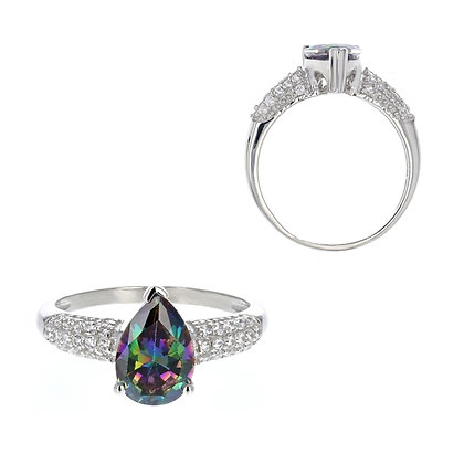 Mystic Topaz, Pear Cut Ring