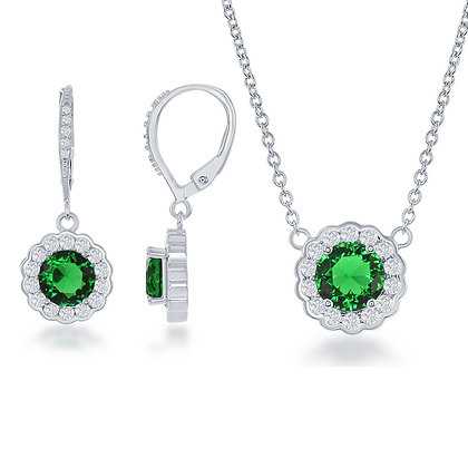 Emerald Flower Set with Lever Back Earnings