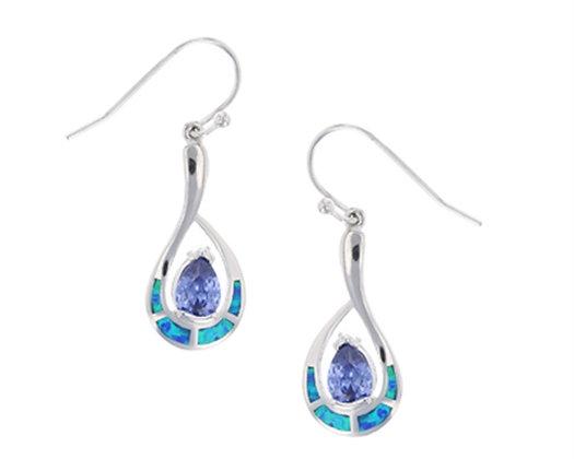 Opal Amethyst Teardrop Earrings