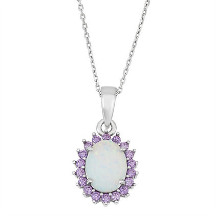 White Opal with Amethyst Halo