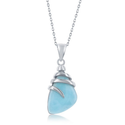 2 Piece Set- Larimar Set Abstract Pendant and Earring