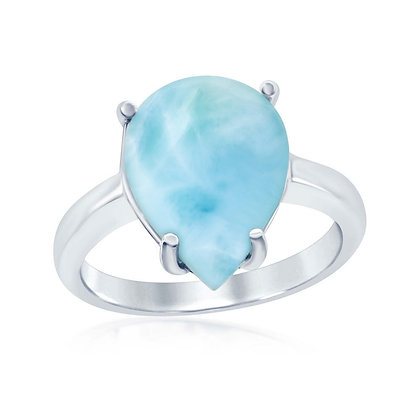 Teardrop Larimar Ring