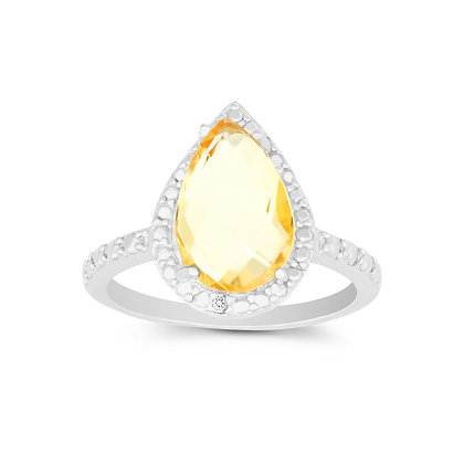 Yellow Sapphire Tear Drop Ring