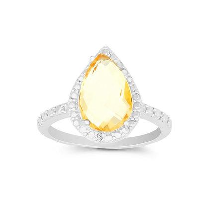 Yellow Sapphire Tear Drop Ring