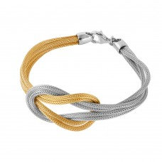 Italian Crafted 2-Tone Mesh Knot Bracelet, Yellow or Rose