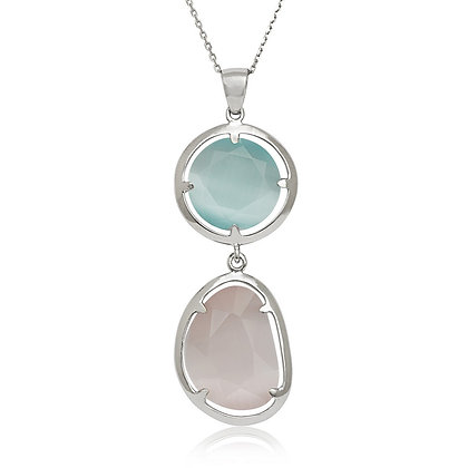 Two Stone Cats Eye Necklace, Tourmaline and Nude