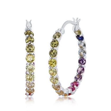 Rainbow Hoop Earrings Yellow or White