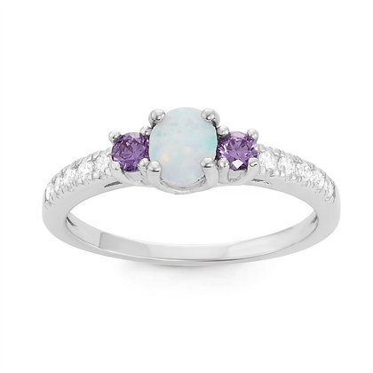 White Opal and Amethyst Ring