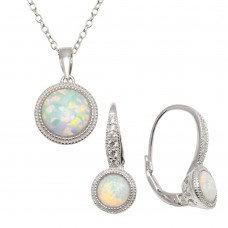 White Boulder Opal Set W/ Lever Back Earring
