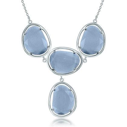"Multi Stone ""Y"" Denim Cat Eye Necklace"