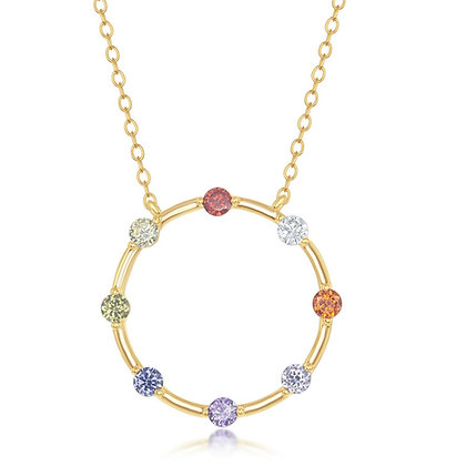 Circle of Life Rainbow Set, Necklace with Lever Back Earring