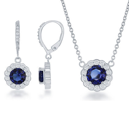 Blue Sapphire Set with Lever Back Earrings