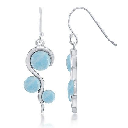 Larimar 3-Stone Swirl Earring