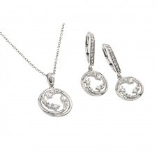 Open Circle Wave Set, Lever Back Earrings