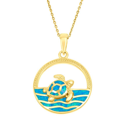 Blue Opal Wave Turtle Necklace, Yellow Gold