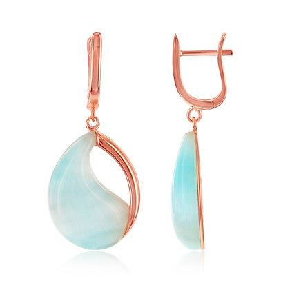 Tiffany Blue Cat's Eye, Half Tear Lever Back Earrings, Rose Gold