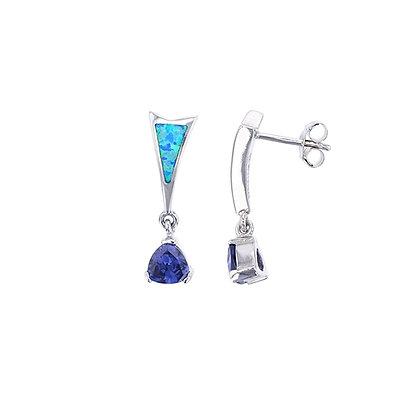 Opal Trillion Dangle Earrings, with Amethyst