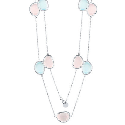 """Multi Stone Cat's Eye Long Accent Necklace 36"""""""