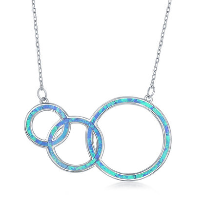 Blue Opal 3 Circle Hoop Necklace
