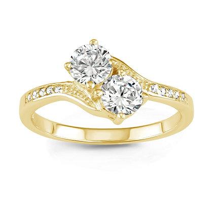 2 Stone Ring, Yellow