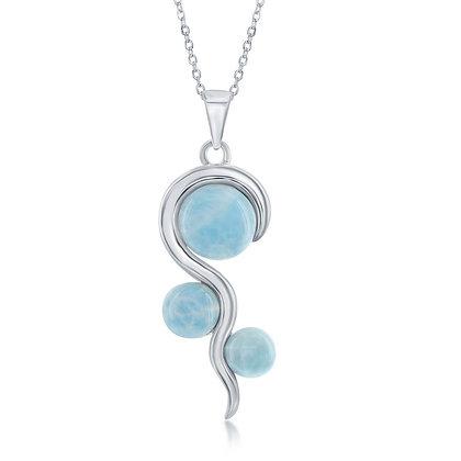 Larimar 3 Stone Necklace