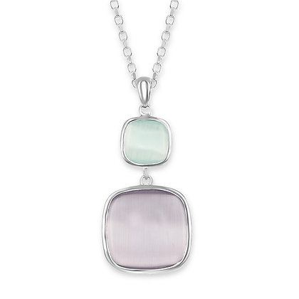 Two Stone Cats Eye Necklace, Aqua and Lavender