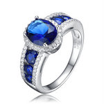 Sapphire Oval Cut with Sapphire Channel