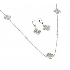 Clover Set , With lever Back Earring