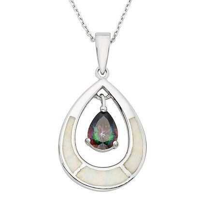 White Opal and Mystic Topaz Pendant