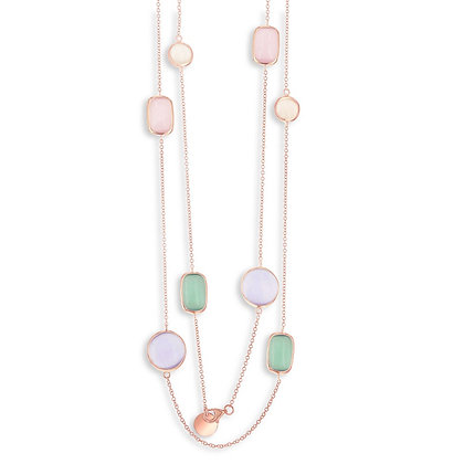 "Rose Gold Multi- Stone Cats Eye 36"" Necklace"