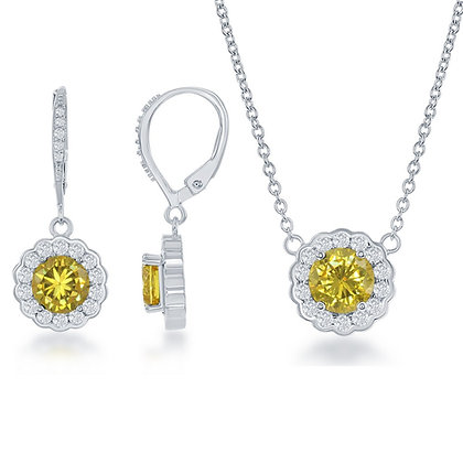 Yellow Sapphire Set with Lever Back Earrings