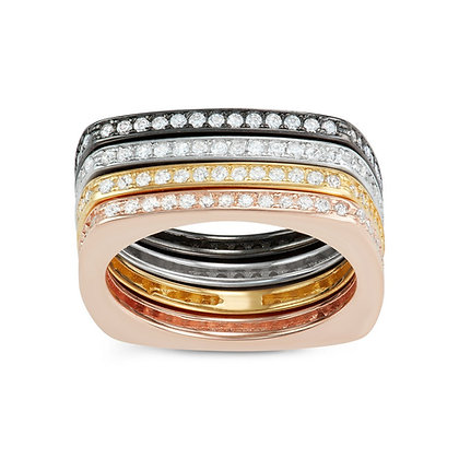 4 Tone Channel Ring, with Black Ruthenium