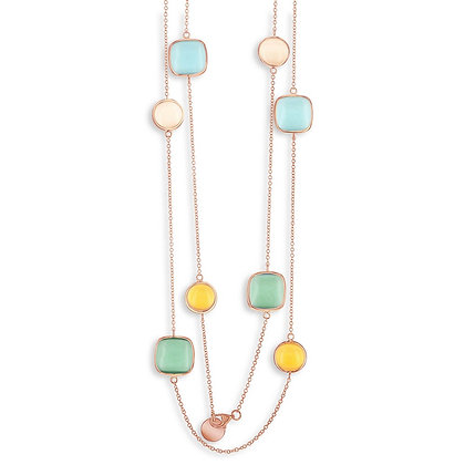 "Rose Gold Multi- Stone Cats Eye 36"" Necklace,Lemon, Aqua, Nude and Sea-foam"