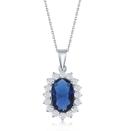 Blue Sapphire Oval Halo Necklace