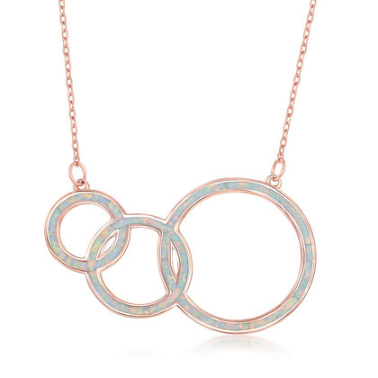 White Opal Triple Necklace, Rose Gold