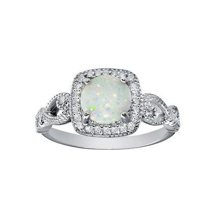 White Boulder Opal Pave VIntage