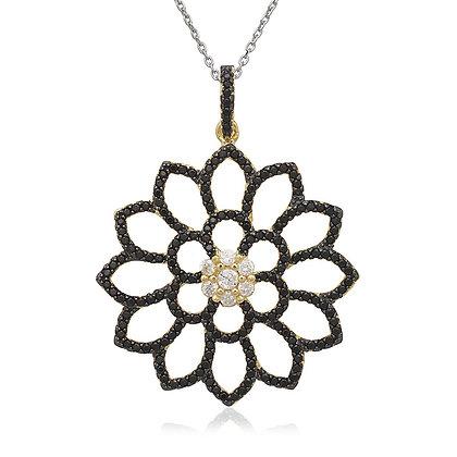 Black Sapphire Flower Pendant